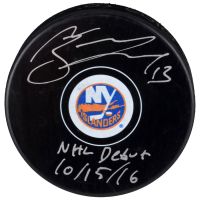 "Mathew Barzal Signed Islanders Logo Hockey Puck Inscribed ""NHL Debyt 10/15/16"" (Fanatics Hologram) at PristineAuction.com"