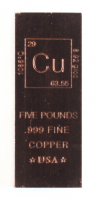 "Five Pounds .999 Fine Copper ""Element Design"" Bullion Bar at PristineAuction.com"