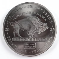 25 Troy Ounce .999 Fine Titanium Oversized Buffalo Bullion Round at PristineAuction.com