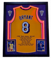 Kobe Bryant Signed 32x41 Custom Framed Career Highlight Stat Jersey Display with LED Lights (Beckett LOA) at PristineAuction.com