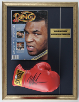 Mike Tyson Signed 17x22 Custom Framed Everlast Boxing Glove Display with The Ring Magazine (PSA COA) at PristineAuction.com