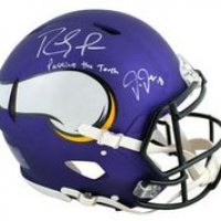 "Justin Jefferson & Randy Moss Signed Vikings Full-Size Authentic On-Field Speed Helmet Inscribed ""Passing The Torch"" (Beckett COA) at PristineAuction.com"