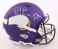 """Justin Jefferson & Randy Moss Signed Vikings Full-Size Authentic On-Field Speed Helmet Inscribed """"Passing The Torch"""" (Beckett COA) at PristineAuction.com"""