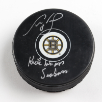 """Cam Neely Signed Bruins Logo Hockey Puck Inscribed """"Kick his A** Seabass"""" (Cam Neely COA & YSMS Hologram) at PristineAuction.com"""