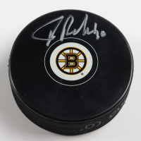 Tuukka Rask Signed Bruins Logo Hockey Puck (Rask COA & YSMS Hologram) at PristineAuction.com