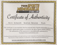 Milt Schmidt Signed Bruins Logo Hockey Puck (Your Sports Memorabilia Store COA) at PristineAuction.com
