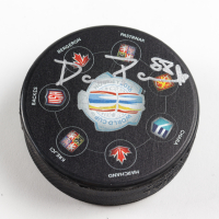 David Pastrnak Signed 2016 World Cup Logo Hockey Puck (Pastrnak COA & YSMS Hologram) at PristineAuction.com