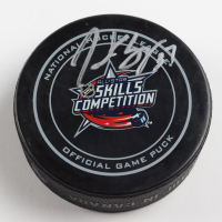 Patrice Bergeron Signed Official 2015 All-Star Game Skills Competition Logo Hockey Puck (Bergeron COA & YSMS Hologram) at PristineAuction.com