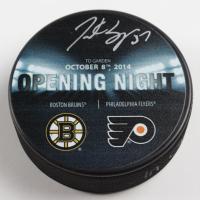 Patrice Bergeron Signed 2014 Bruins Opening Night Logo Hockey Puck (Bergeron COA & YSMS Hologram) at PristineAuction.com