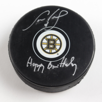 """Cam Neely Signed Bruins Logo Hockey Puck Inscribed """"Happy Birthday"""" (Neely COA) at PristineAuction.com"""
