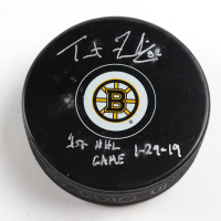 "Trent Frederic Signed Bruins Logo Hockey Puck Inscribed ""1st NHL Game 1 - 29 - 19"" (Frederic COA & YSMS Hologram) at PristineAuction.com"