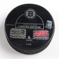 Patrice Bergeron Signed LE Bruins Logo Hockey Puck (Bergeron COA & YSMS Hologram) at PristineAuction.com