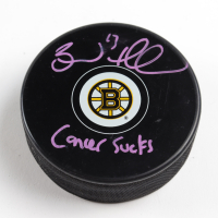 """Brad Marchand Signed Bruins Logo Hockey Puck Inscribed """"Cancer Sucks"""" (Marchand COA & YSMS Hologram) at PristineAuction.com"""