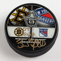 "Brad Marchand Signed 2013 Stanley Cup Playoffs Hockey Puck Insribed ""OT GWG"" (Marchand COA & YSMS Hologram) at PristineAuction.com"
