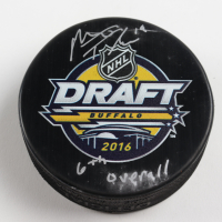 "Matthew Tkachuk Signed Flames 2016 Draft Logo Hockey Puck Inscribed ""6th Overall"" (Tkachuk COA & YSMS Hologram) (See Description) at PristineAuction.com"