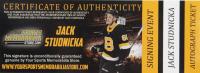 "Jack Studnicka Signed Bruins Logo Hockey Puck Inscribed ""1st NHL Game 11 - 26 - 19"" (Studnicka COA & YSMS Hologram) at PristineAuction.com"