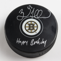 "Brad Marchand Signed Bruins Logo Hockey Puck Inscribed ""Happy Birthday"" (Marchand COA & YSMS Hologram) at PristineAuction.com"