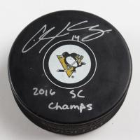 "Chris Kunitz Signed Penguins Logo Hockey Puck Inscribed ""2016 SC Champs"" (Kunitz COA & YSMS hologram) at PristineAuction.com"