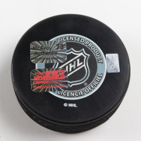Charlie McAvoy Signed Bruins 2019 Winter Classic Duel Logos Hockey Puck (McAvoy COA & YSMS Hologram) at PristineAuction.com
