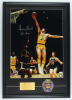 "Jerry West Signed Lakers 19x27 Custom Framed Photo Display Inscribed ""The Logo"" With Cloth Patch (JSA Hologram) at PristineAuction.com"