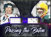 John Elway / Brett Favre 2020 ITG Used Sports Passing the Baton Dual Memorabilia Purple Spectrum #PTB05 at PristineAuction.com