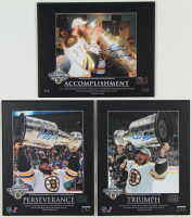 Patrice Bergeron, Zdeno Chara, & Brad Marchand Signed Set of (3) Bruins 2011 Stanley Cup Champions 8x10 Plaques (Bergeron COA, Chara COA & Marchand COA) at PristineAuction.com