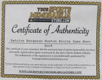 Patrice Bergeron Signed Bruins Game-Worn Sock (Bergeron COA) at PristineAuction.com