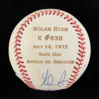 Nolan Ryan Signed OAL Game Stat Engraved Baseball (Beckett COA) (See Description) at PristineAuction.com