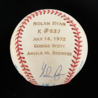 Nolan Ryan Signed OAL Game Stat Engraved Baseball (Beckett COA) (See Description) at PristineAuction.com