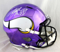 Adrian Peterson Signed Vikings Full-Size Chrome Speed Helmet (Beckett COA) at PristineAuction.com
