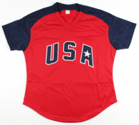 """Jennie Finch Signed Jersey Inscribed """"04 Gold"""" (JSA COA) at PristineAuction.com"""