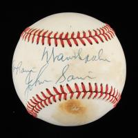 "Warren Spahn & Johnny Sain Signed ONL Baseball Inscribed ""Pray For Rain"" (Beckett COA) (See Description) at PristineAuction.com"
