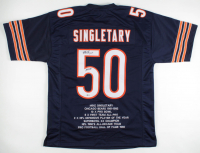 "Mike Singletary Signed Career Highlight Stat Jersey Inscribed ""HOF 98"" (Beckett COA) at PristineAuction.com"