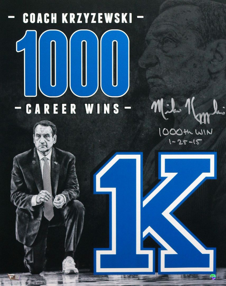 "Mike Krzyzewski Signed Duke Blue Devils 16x20 Photo Inscribed ""1000th Win 1-25-15"" (Fanatics Hologram) at PristineAuction.com"