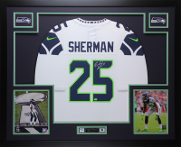 Richard Sherman Signed 35x43 Custom Framed Jersey (Sherman COA) at PristineAuction.com