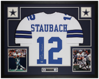 Roger Staubach Signed 35x43 Custom Framed Jersey Display (Beckett COA) at PristineAuction.com