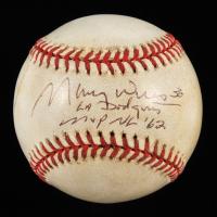 "Maury Wills Signed ONL Baseball Inscribed ""LA Dodgers"" & ""MVP NL '62"" (Beckett COA) (See Description) at PristineAuction.com"