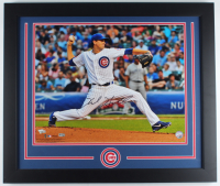 Kyle Hendricks Signed Cubs 23x27 Custom Framed Photo Display (Fanatics Hologram & MLB Hologram) (See Description) at PristineAuction.com