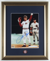 Pete Rose Signed Reds 13x16 Custom Framed Photo Display with Vintage Reds Pin (Fiterman Hologram) (See Description) at PristineAuction.com