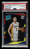 Lonzo Ball 2017-18 Donruss Optic Mega Box Rated Rookie Red Yellow #199 RR (PSA 10) at PristineAuction.com