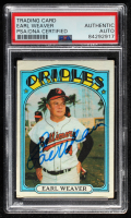 Earl Weaver Signed 1972 Topps #323 MG (PSA Encapsulated) at PristineAuction.com