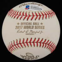 "Evan Gattis Signed 2017 World Series Baseball Inscribed ""2017 WS Champs"" With Display Cube (Beckett COA) at PristineAuction.com"