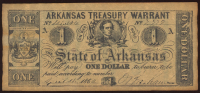 1862 $1 One Dollar Arkansas Treasury Warrant Bank Note at PristineAuction.com