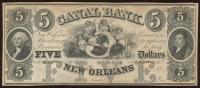 $5 Five Dollar New Orleans Canal Bank Note at PristineAuction.com