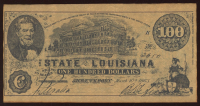 1863 $100 One Hundred Dollar Louisiana Bank Note at PristineAuction.com