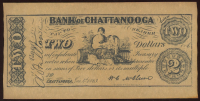 1863 $2 Two Dollar Bank of Chattanooga, Tennessee Bank Note at PristineAuction.com