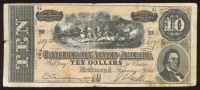 1864 $10 Ten Dollar Confederate States of America Bank Note at PristineAuction.com