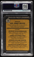 Earl Weaver Signed 1973 Topps #136A Earl Weaver MG / George Bamberger CO / Jim Frey CO / Billy Hunter CO / George Staller CO (PSA Encapsulated) at PristineAuction.com