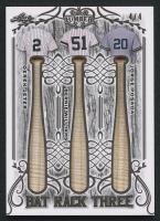 2021 Leaf Lumber Kings Bat Rack Three Relic #BR3-04 Derek Jeter, Bernie Williams & Jorge Posada #4/4 at PristineAuction.com