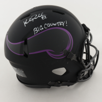 """Kyle Rudolph Signed Vikings Full-Size Authentic On-Field Eclipse Alternate Speed Helmet Inscribed """"BIG COUNTRY!"""" (Beckett COA) (See Description) at PristineAuction.com"""
